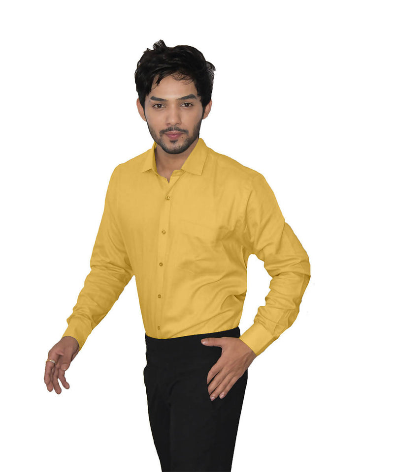 Yellow color handspun handwoven cotton shirt