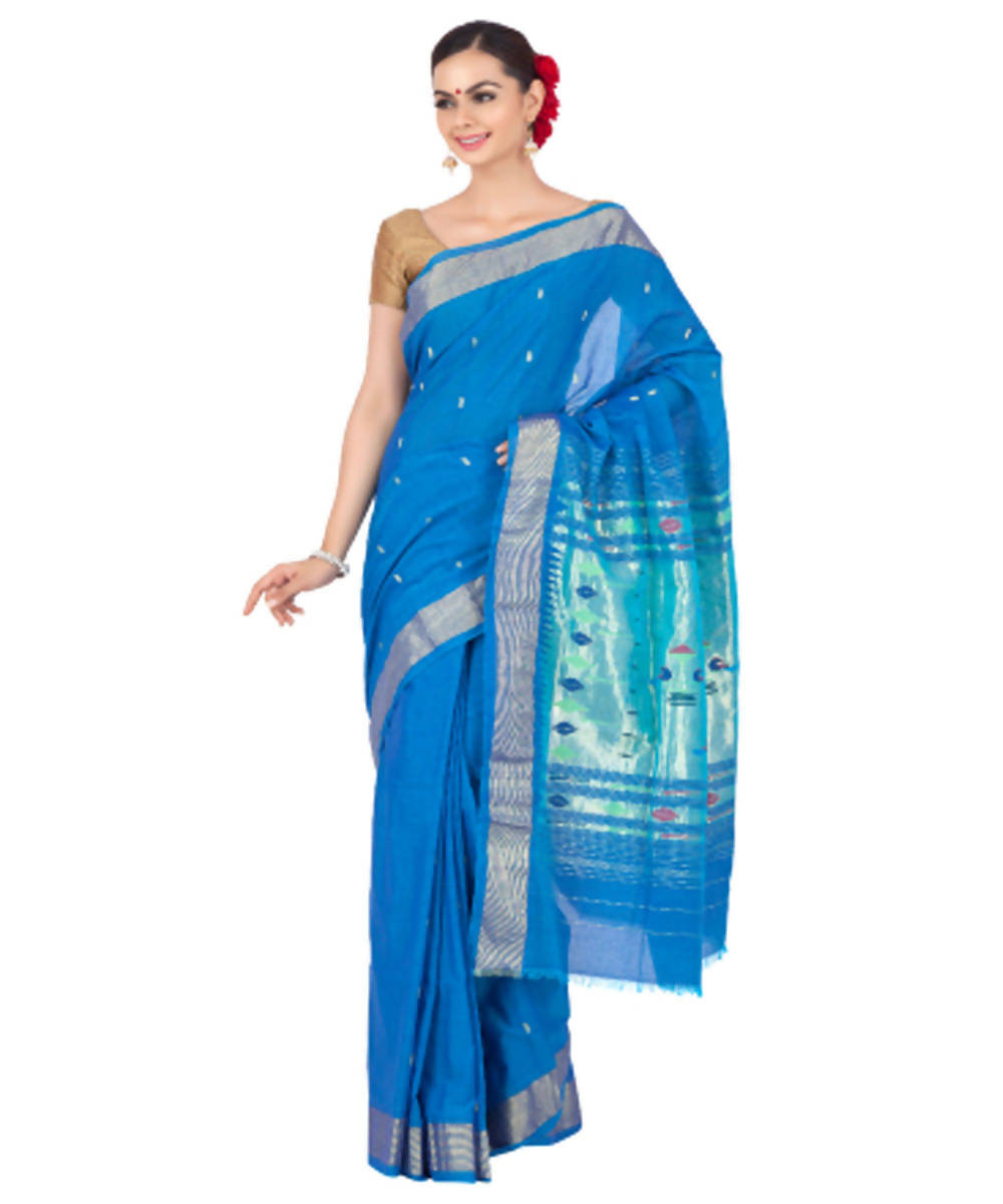 Cobalt Blue Handloom Paithani Cotton Saree