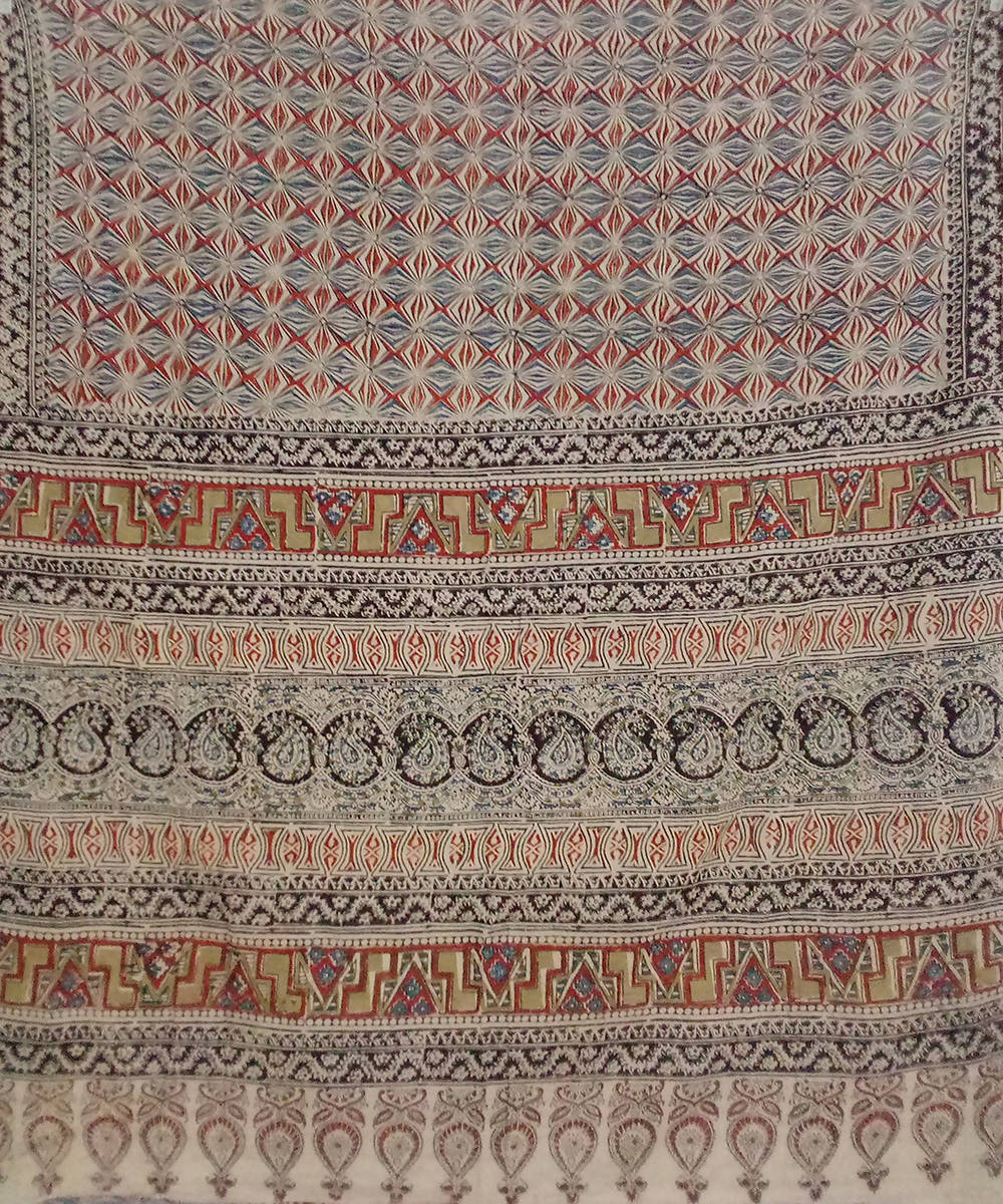 Polychromatic Kalamkari handblock printed cotton saree
