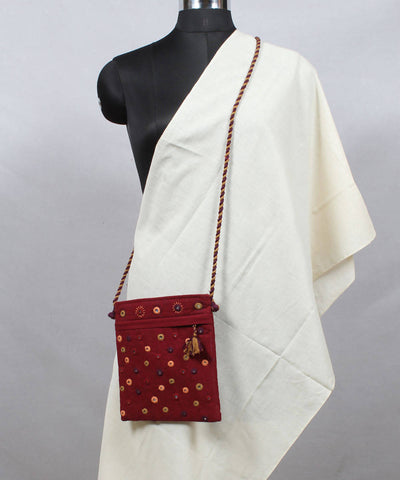 Burgundy Lambani Embroidery Cloth Sling Bag