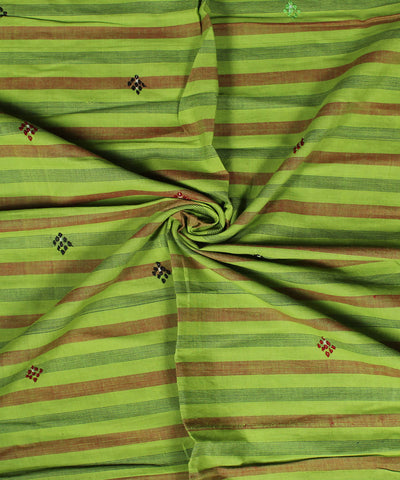 Light Green Stripe Hand Embroidery Cotton Printed Blouse Piece