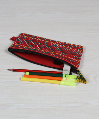 Red Lambani Embroidery Cloth Pencil Pouch