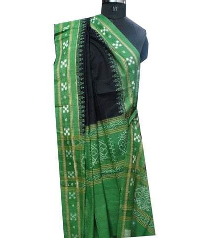 Exclusive Traditional Black And Avocado Pasapali Border Traditional Ikat tie And dye Cotton Dupatta