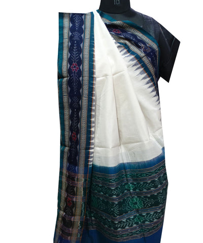 Exclusive Traditional Off WhiteDark Slate Blue And Bottle Green traditional Ikat  tie And dye Cotton Dupatta