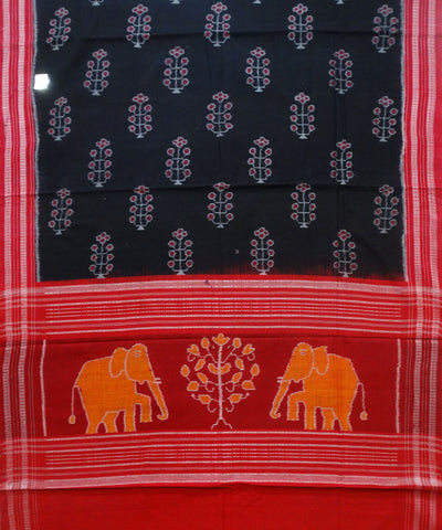 Exclusive Traditional Black And Maroon Sambalpuri Ikat tie And dye Cotton Dupatta