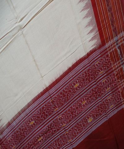 Exclusive Traditional Sandal And Maroon Sambalpuri Ikat tie And dye Cotton Dupatta