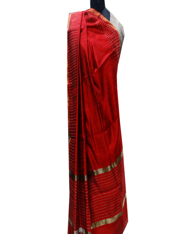 Dark Red Dupion Dupatta