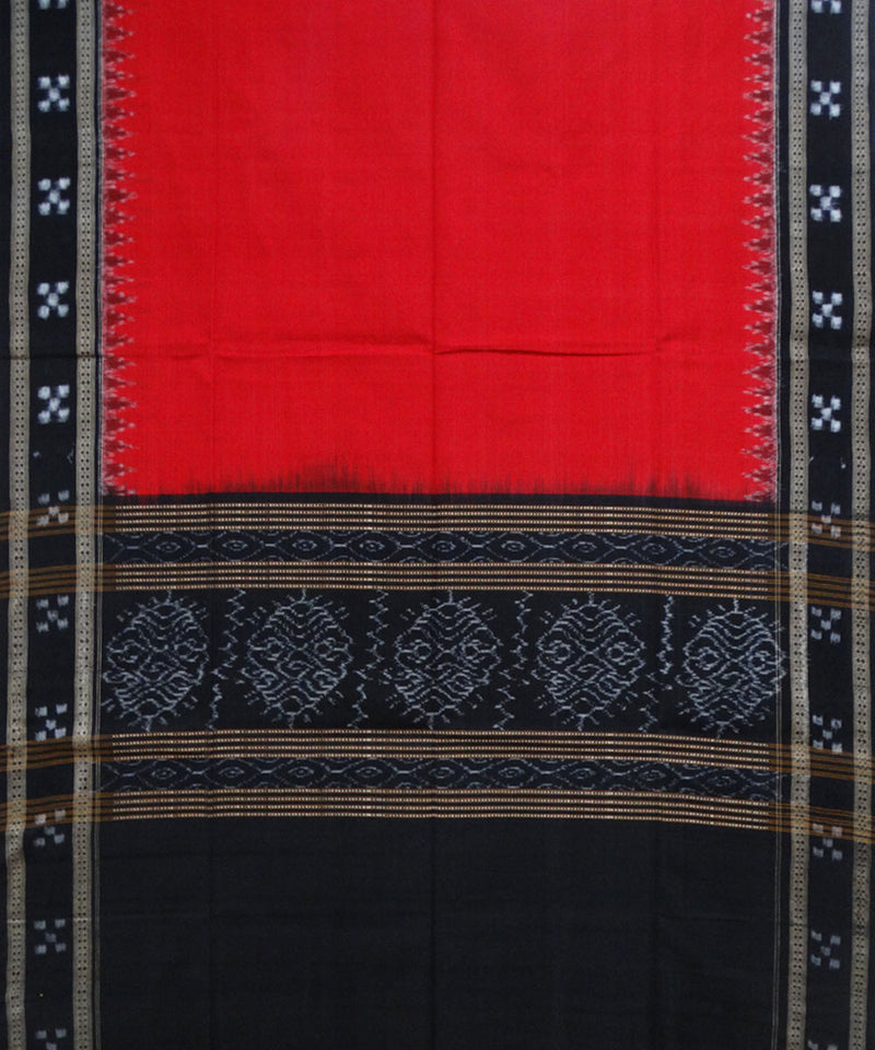 Dark Red and Black Handloom Cotton Dupatta