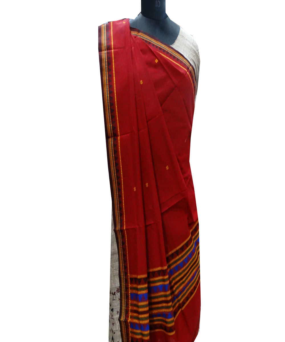 Dark red cotton Dupatta