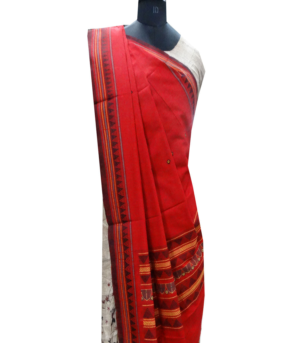 Dark red dongoria cotton Dupatta