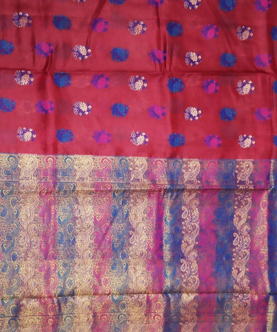 Garnet red handloom silk banarasi saree