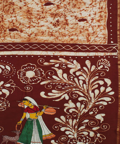White Brown Maheshwari Batik Hand Print Saree