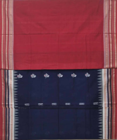 Navy blue handwoven bomkai cotton saree