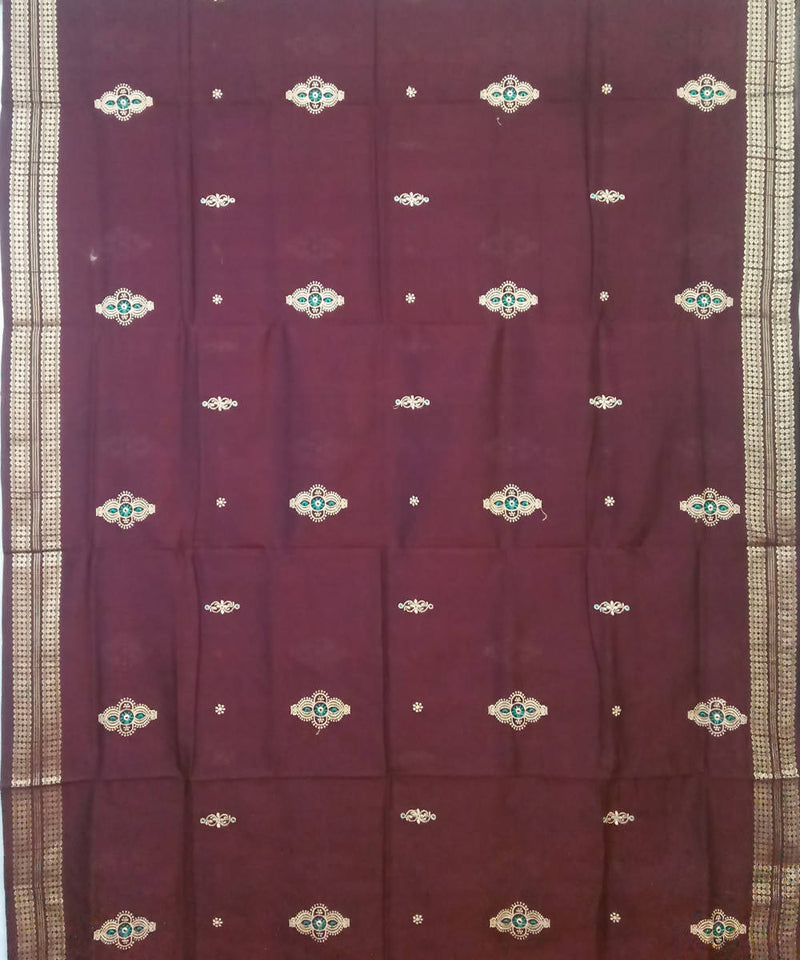 Maroon and Black Bomkai Handloom Cotton Saree