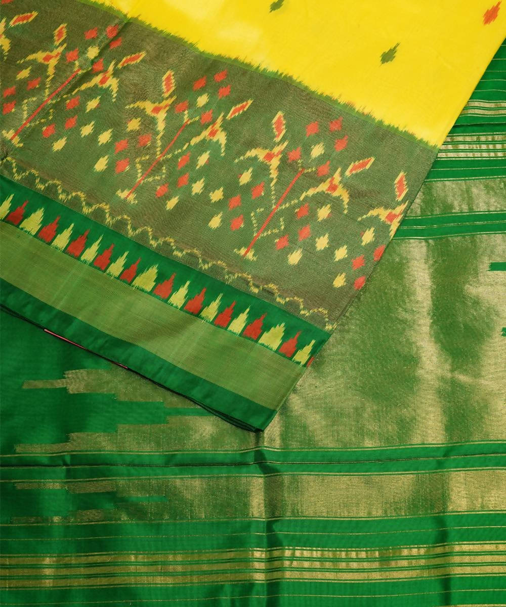 Cream green handloom pochampally silk saree