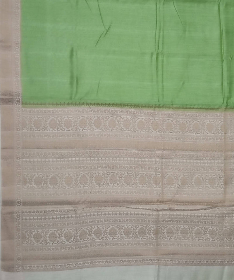Banarasi Light Green and Beige Handloom Silk Saree