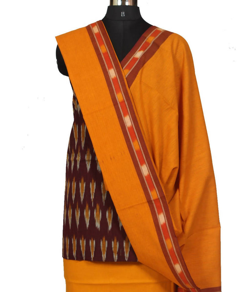 Yellow, Red and Black Ikat Dress Material