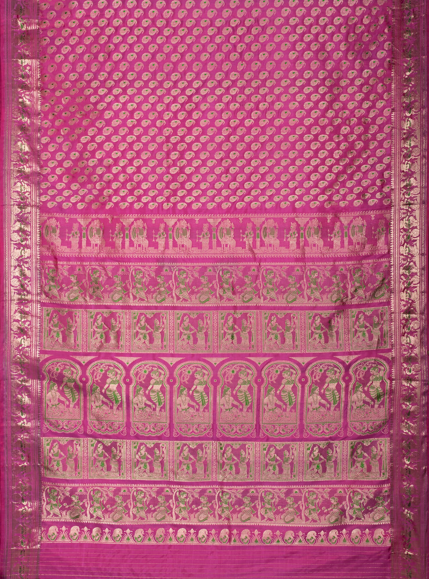 Biswa Bangla Handwoven Pink Baluchari Silk Pargalani Saree