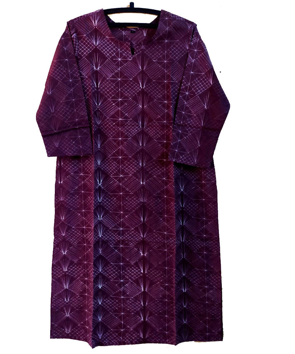 Shibori Hand Printed Wine Purple Cotton Kurta