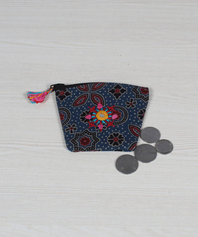 Lambani Embroidery Coin Pouch in Grey Blue