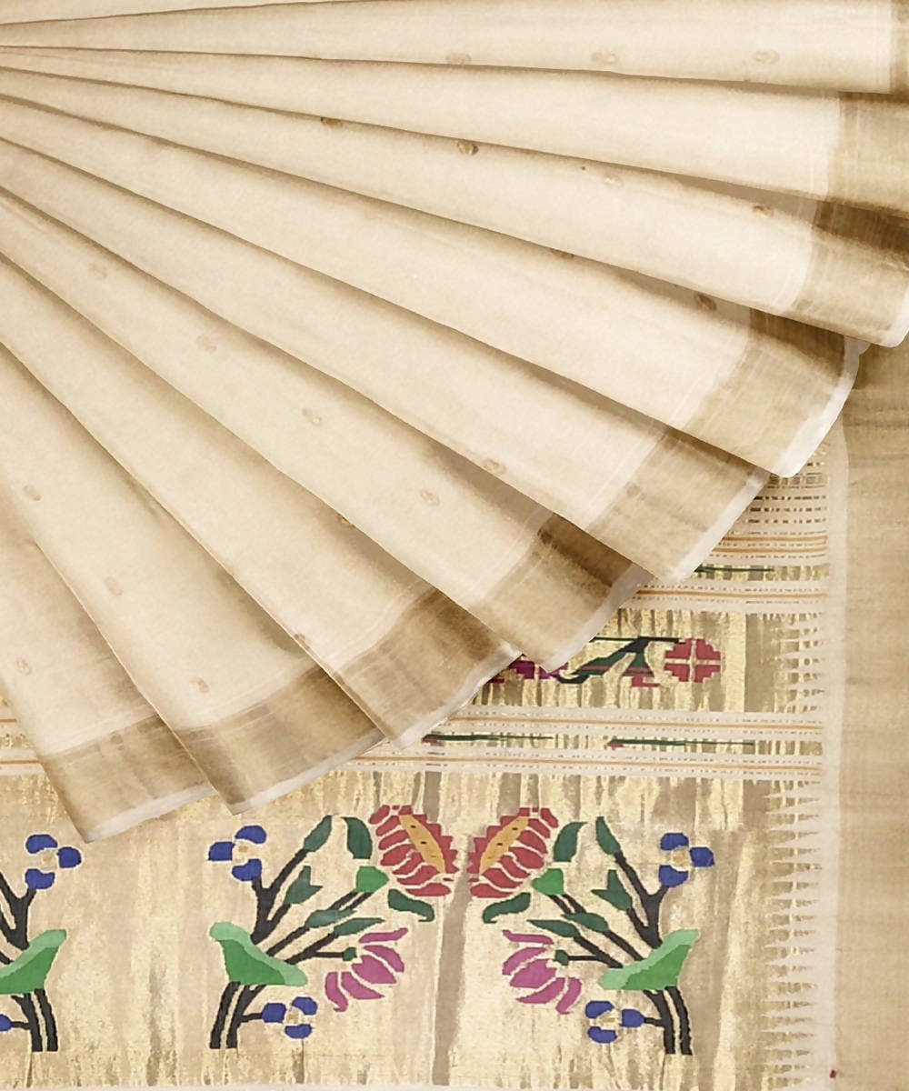 Cream Handloom Paithani Cotton Saree