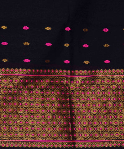 Black Assam Cotton Mekhela Chador