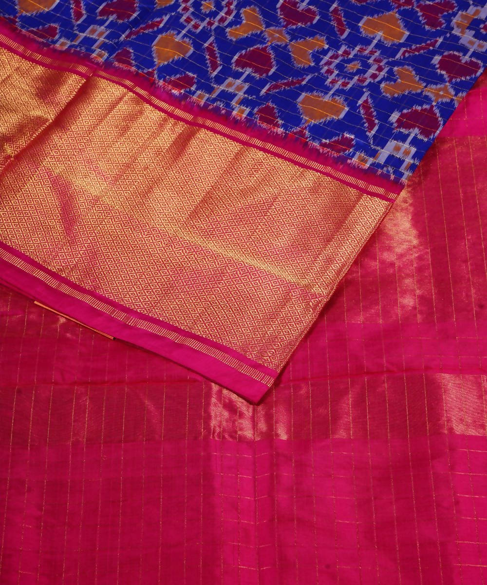 Handloom Pan Patola Blue Ikkat Silk Saree