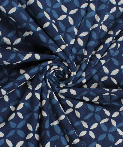 Indigo Abstract Dabu Print Cotton Fabric