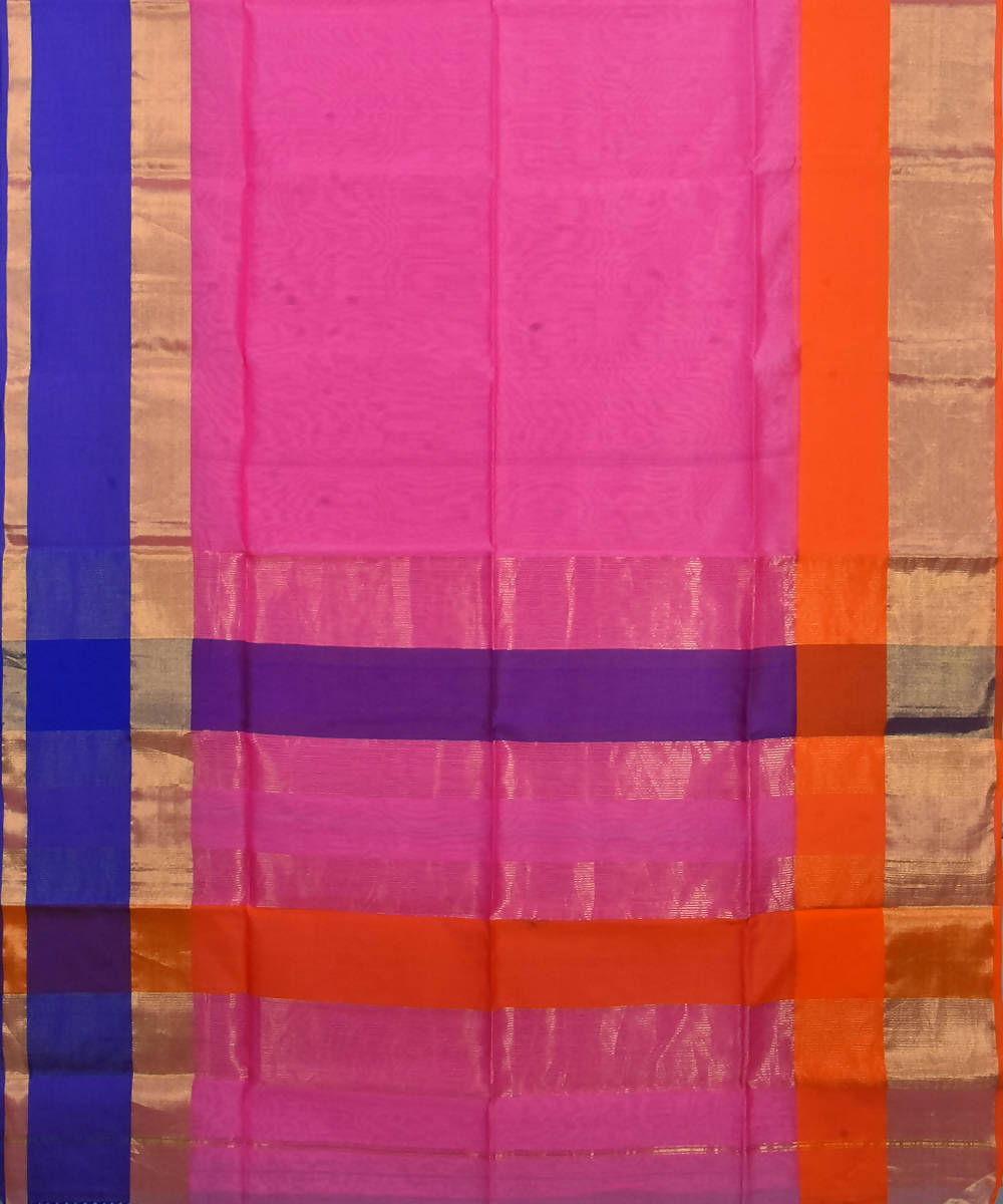Handloom Pink Maheshwari Cotton Silk Saree