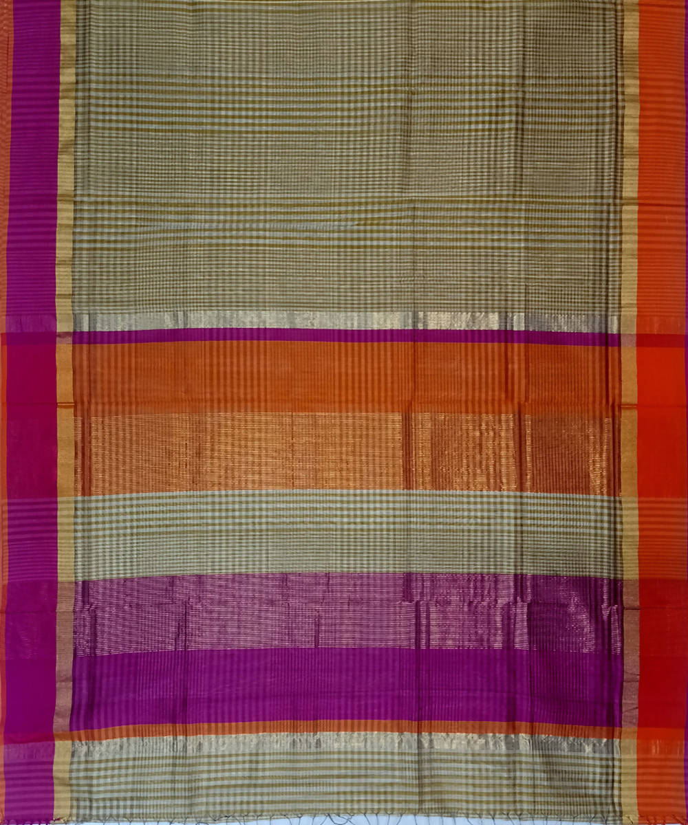 Maheshwari Biscotti Brown Checks Handloom Cotton Silk Saree