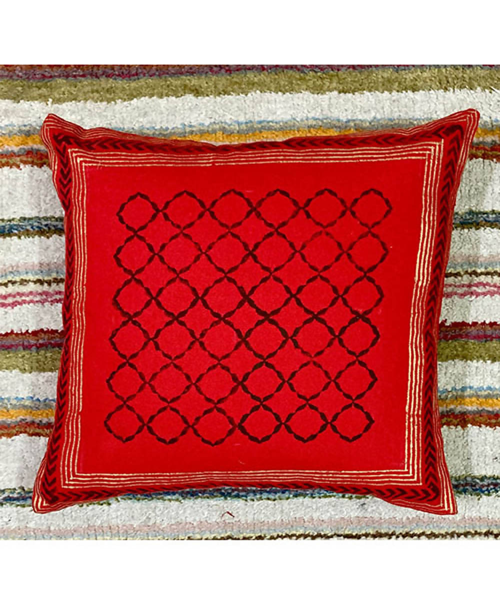 Red maroon handblock printing with hand embroidery cushion cover