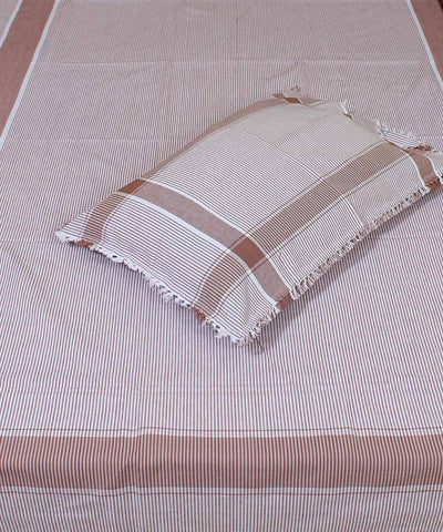 Brown White Striped Handloom Single Bed Sheet