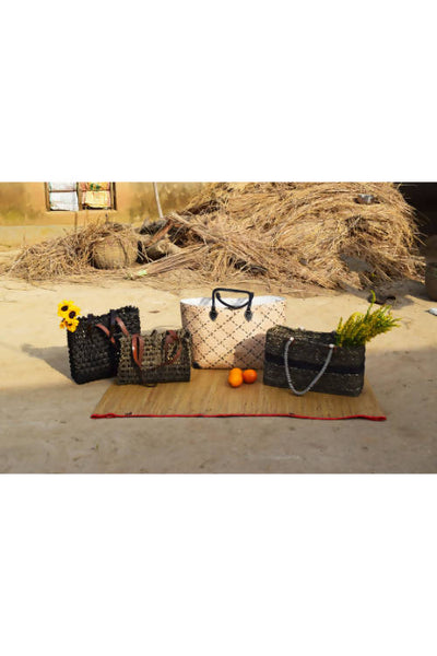 Black Handmade Sabai Grass Lunch Bag Set of 2