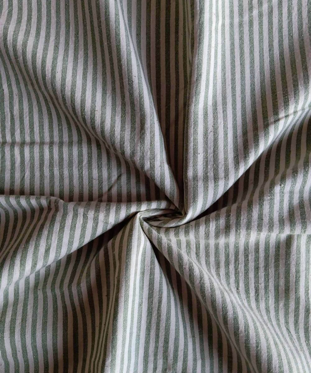 green white stripe handspun handwoven cotton fabric (10m per quantity)