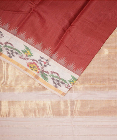 Brown Beige Gadwal Silk Handwoven Saree