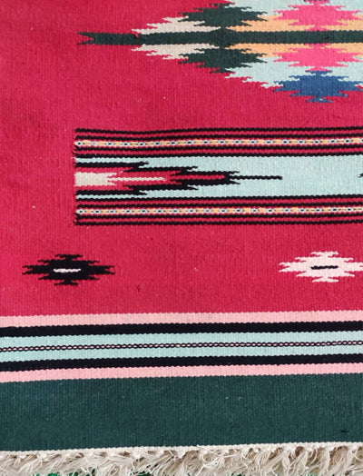 Red Cotton Handloom Interlock Dhurrie