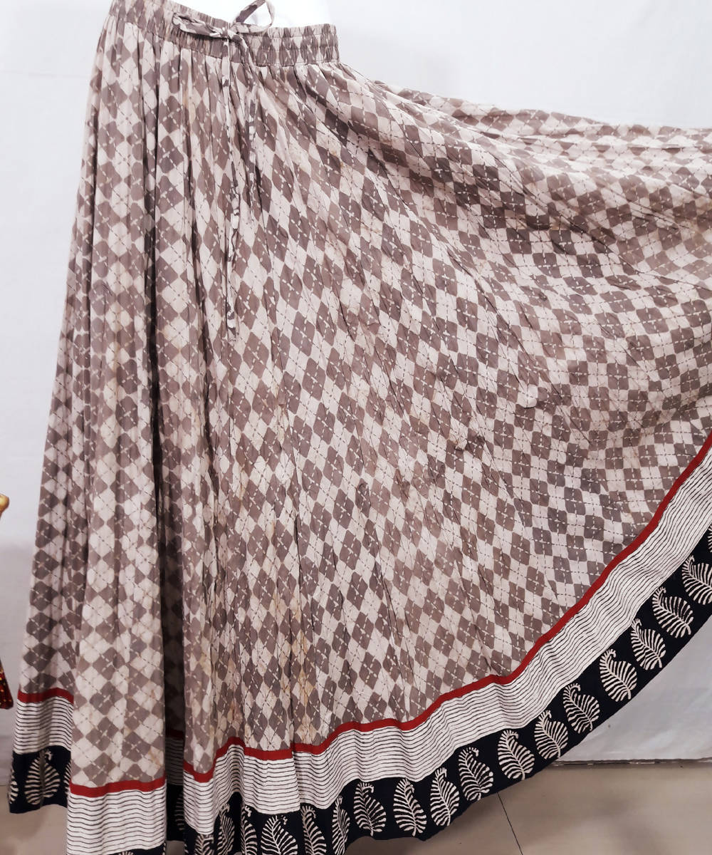 Off white and brown bagru handblock print cotton crinkled skirt