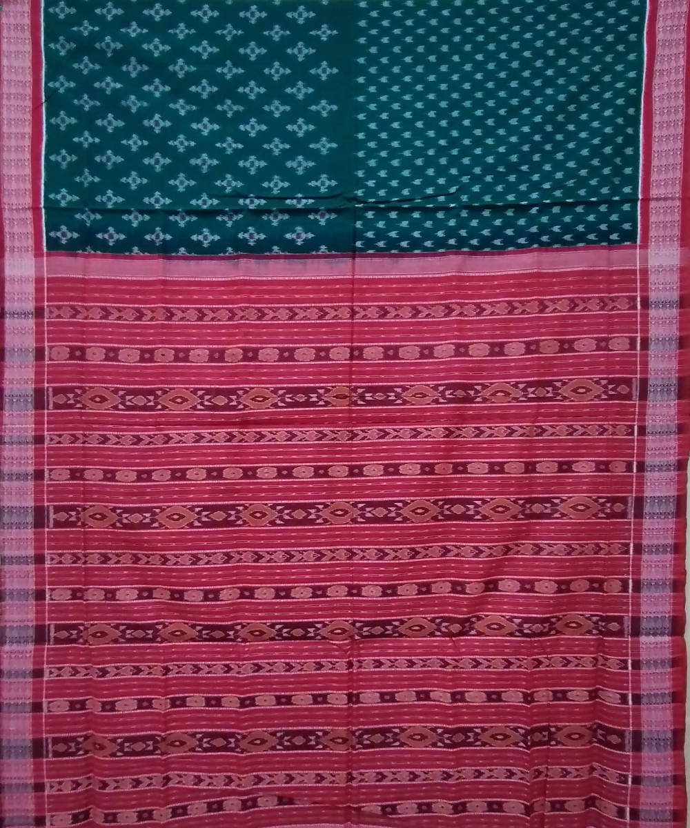 Dark green red handwoven cotton sambalpuri saree