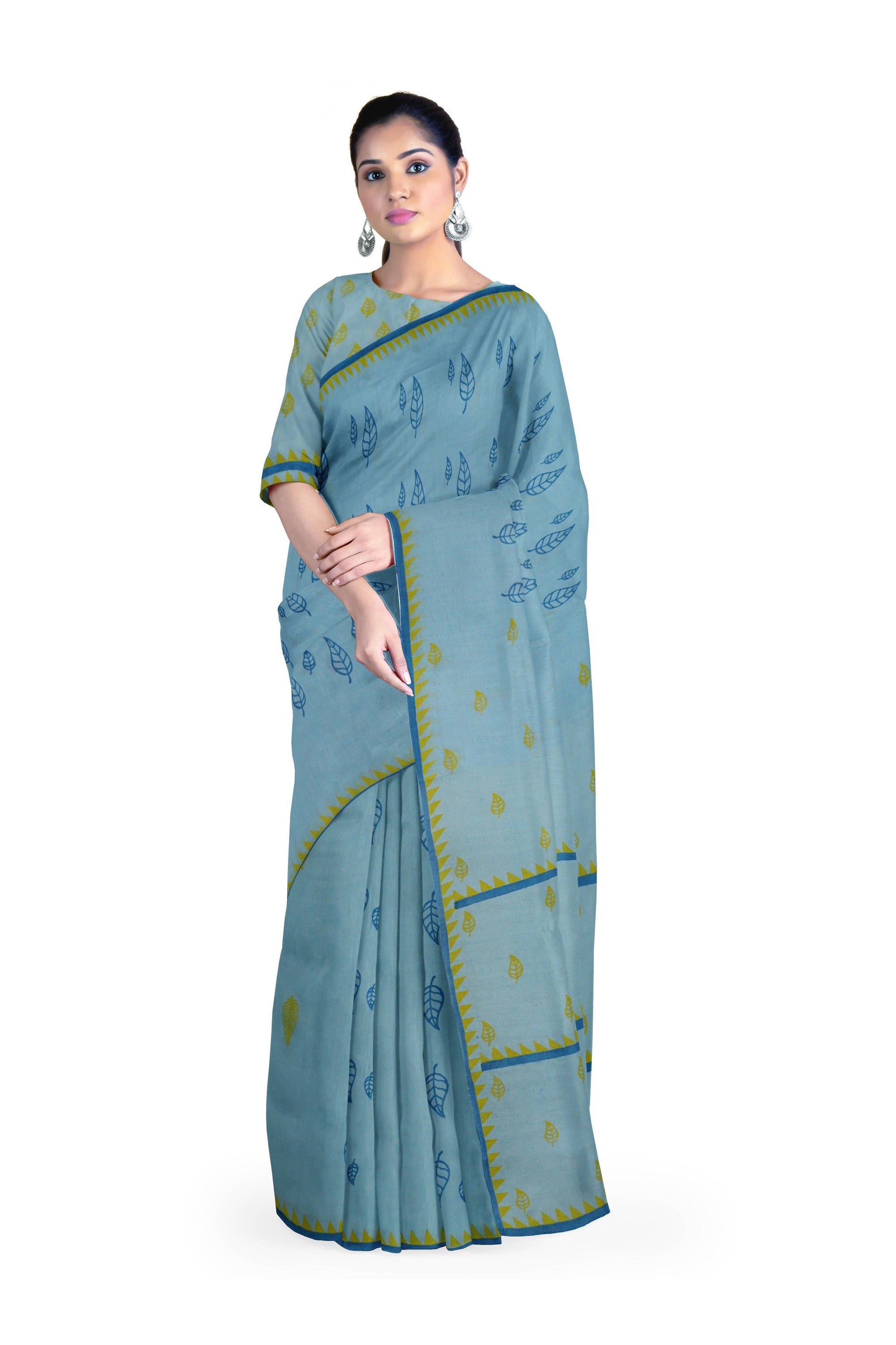 Handloom Cyan Malmal Khadi Saree with Leaf Block Prints and Temple Border