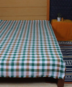Brown Green Checks Cotton Handloom Bed Cover