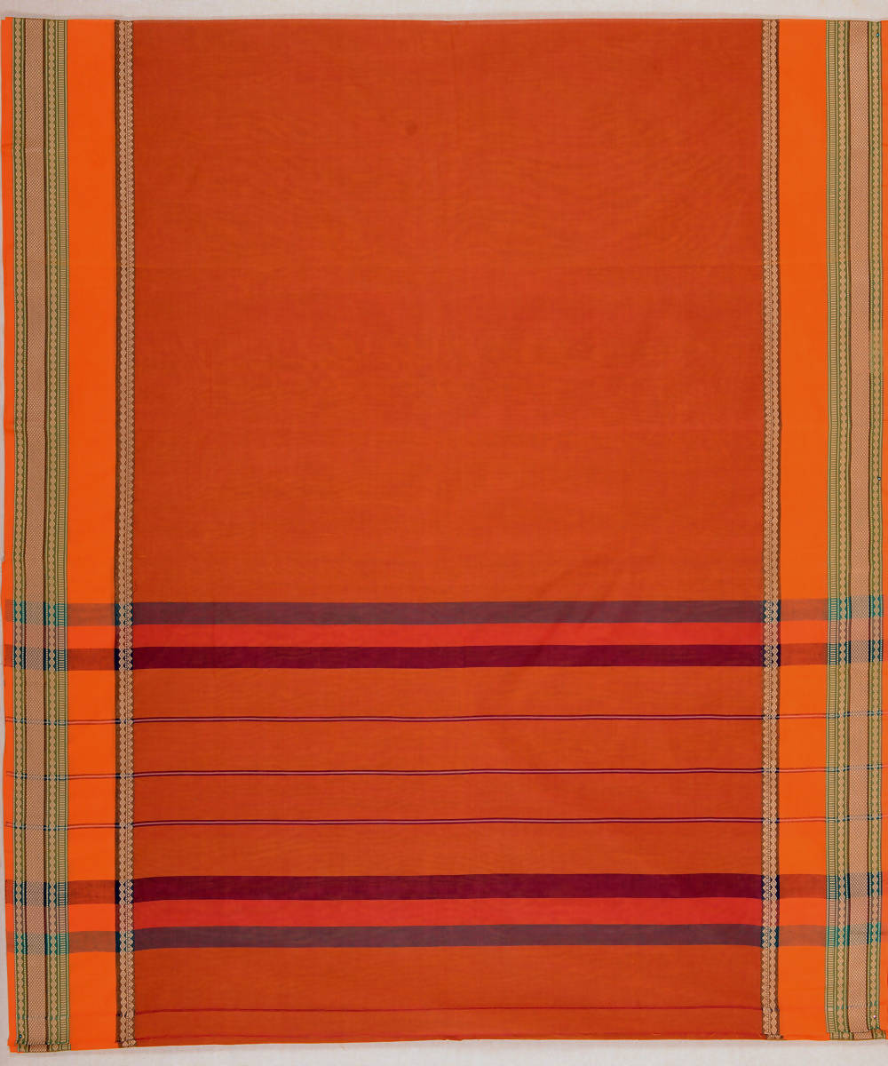 Rust Orange Broad Border Handloom Kanchi Cotton Saree