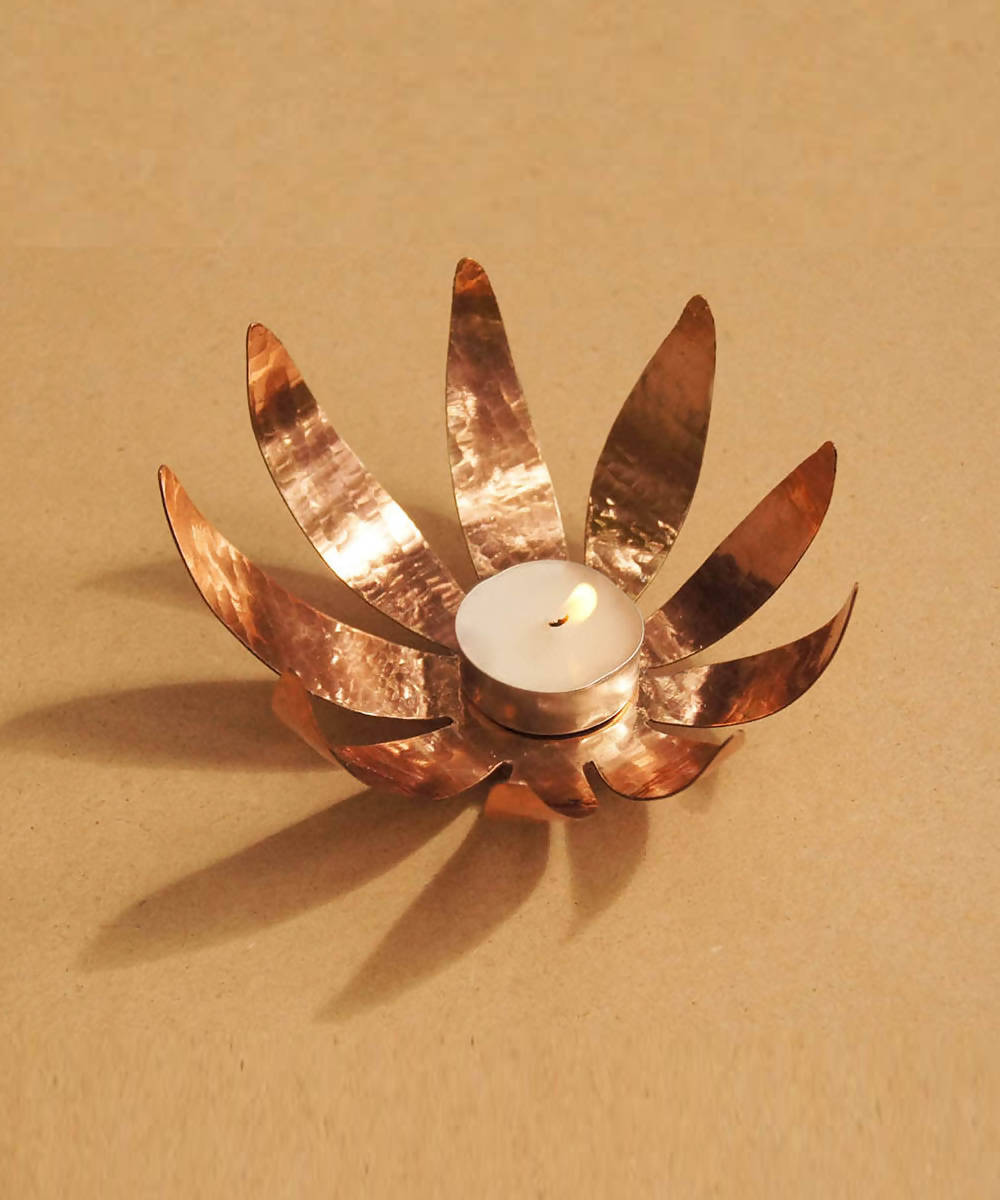 Handmade copper sunflowertea light