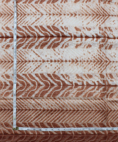 Shibori Chanderi Brown Print Kurta Fabric