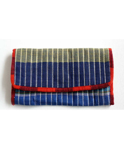 Blue yellow gamcha checks handmade cotton clutch