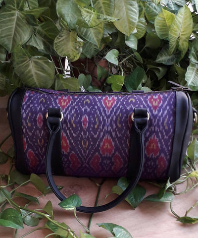 Soulmate handwoven cotton silk ikkat handcrafted duffle bag