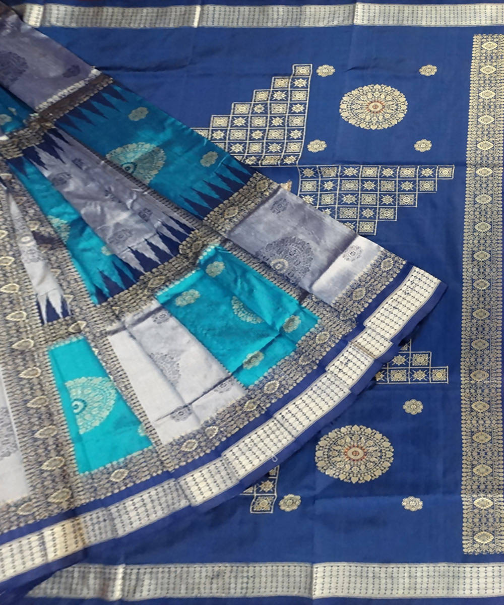 Bondi Blue, Cool Grey handwoven bomkai silk saree