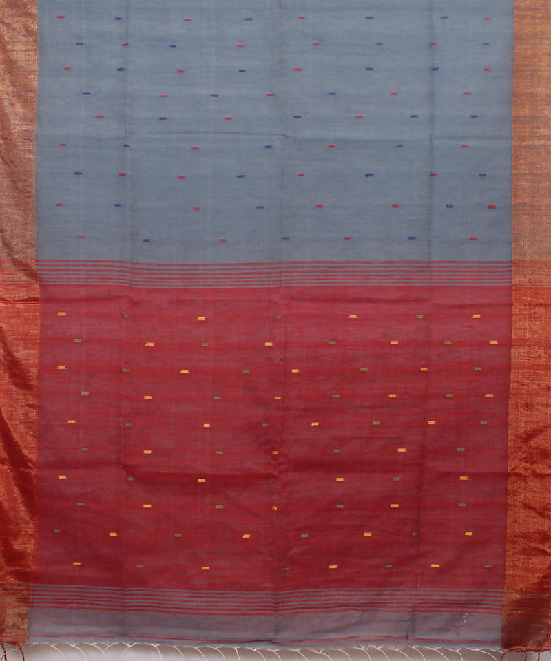 Bengal Handloom Grey Red Cotton Saree