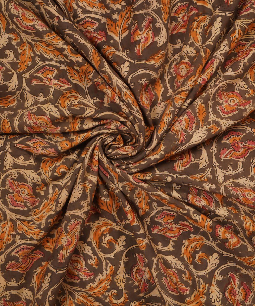 Grey Hand Block Print Kalamkari Cotton Fabric