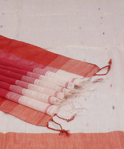 Bengal Handloom Red White Cotton Saree