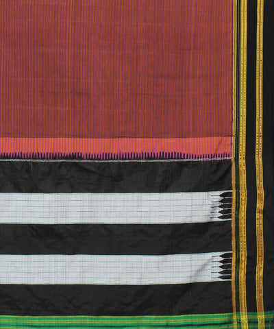 Mauve Stripes Ilkal Handloom Cotton Saree